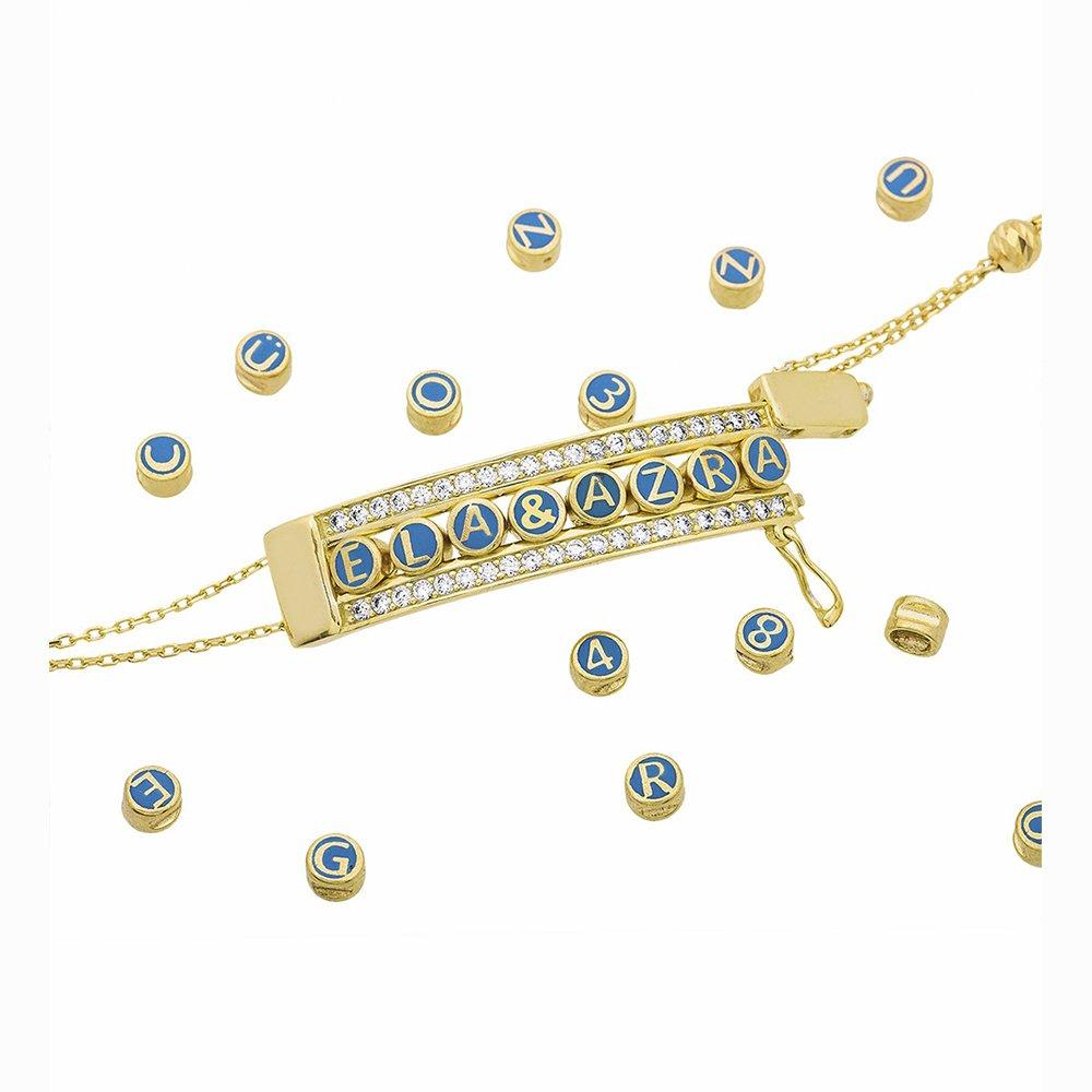 Kişiye Özel İsim Yazılı Zirkon Taşlı Gold Renk 925 Ayar Gümüş Demonte Bileklik