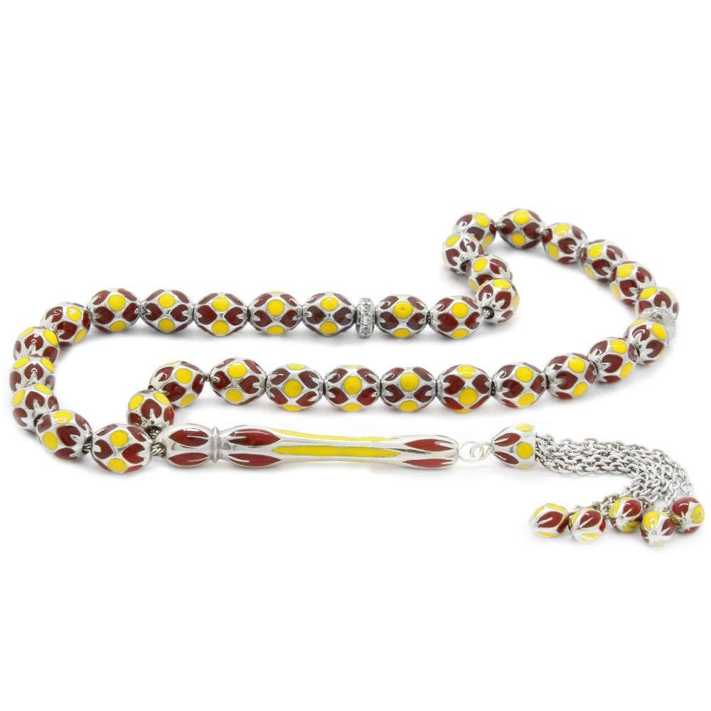 Zirkon Taş ve Mine Dolgulu Arpa Kesim Sarı-Kırmızı 925 Ayar Gümüş Tesbih