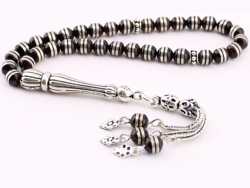 925 Ayar Gümüş Sarmal İşlemeli Kuka Tesbih