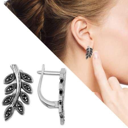 Siyah Zirkon Taşlı Sarmaşık Tasarım 925 Ayar Gümüş Küpe - Thumbnail