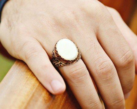 Özel Tasarım Beyaz Sedef Taşlı 925 Ayar Gümüş Erkek Yüzük - Thumbnail
