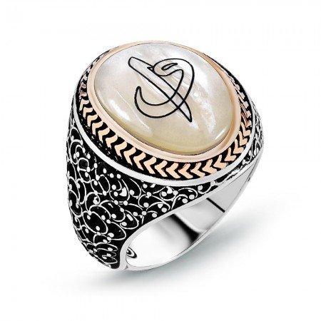 Özel Tasarım Elif Vav Motifli Sedef Taşlı 925 Ayar Gümüş Erkek Yüzük - Thumbnail