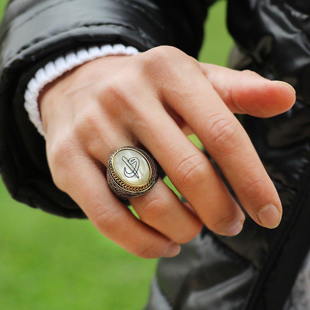 Özel Tasarım Elif Vav Motifli Sedef Taşlı 925 Ayar Gümüş Erkek Yüzük