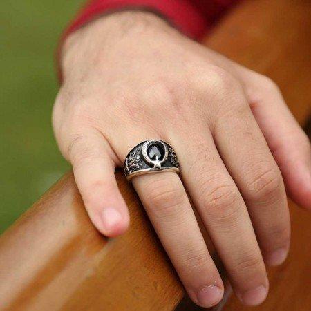 925 Ayar Gümüş Selçuklu Kartallı Armalı İmparator Yüzüğü - Thumbnail