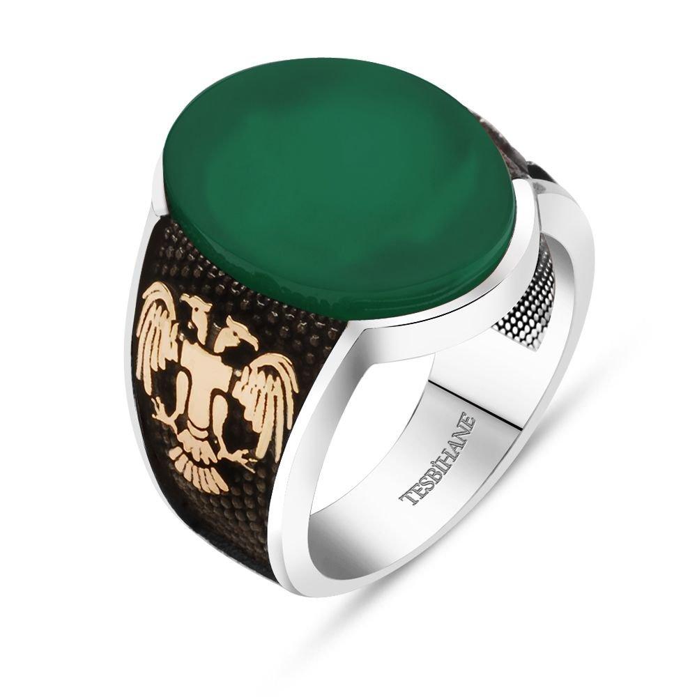 925 Ayar Gümüş Selçuklu Kartallı Oval Yeşil Akik Taşlı Yüzük