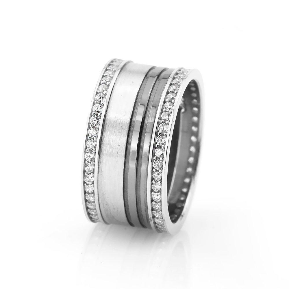Şık Tasarım Zirkon Taşlı 925 Ayar Gümüş Bayan Alyans