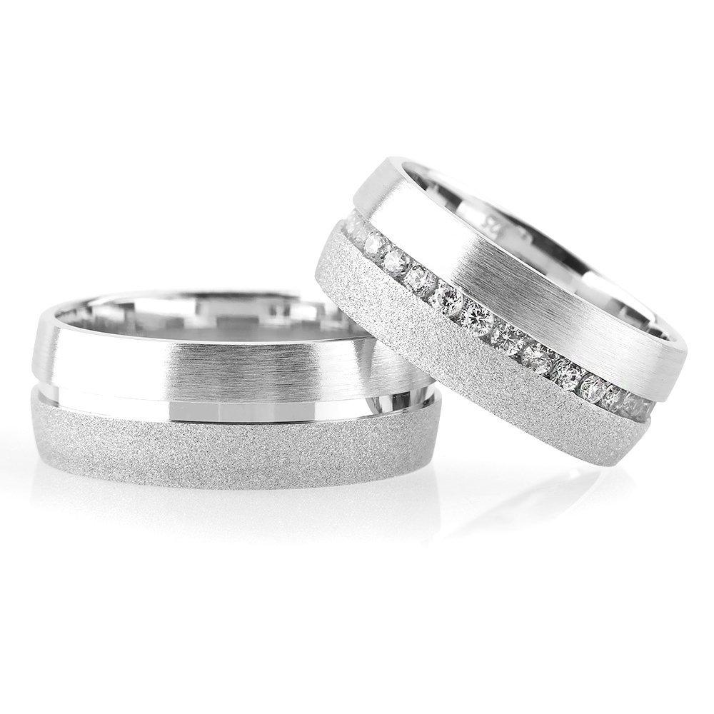 Klasik Çift Şerit Tasarım 925 Ayar Gümüş Çift Alyans