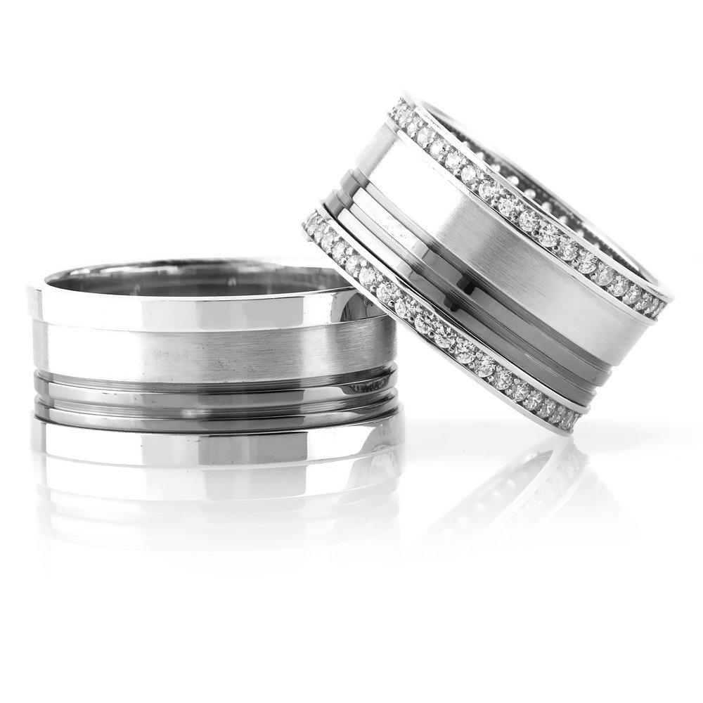 Çift Çizgi Tasarım 925 Ayar Gümüş Çift Alyans