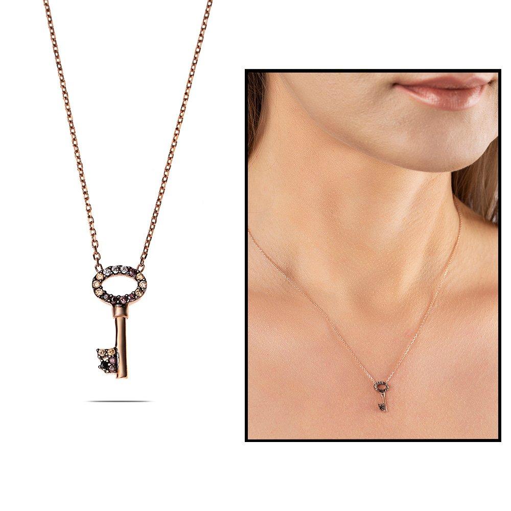 Renkli Zirkon Taşlı Sevgi Anahtarı 925 Ayar Gümüş Bayan Kolye
