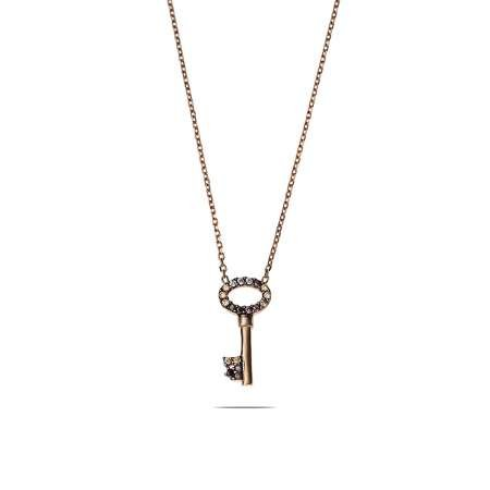 Renkli Zirkon Taşlı Sevgi Anahtarı 925 Ayar Gümüş Bayan Kolye - Thumbnail