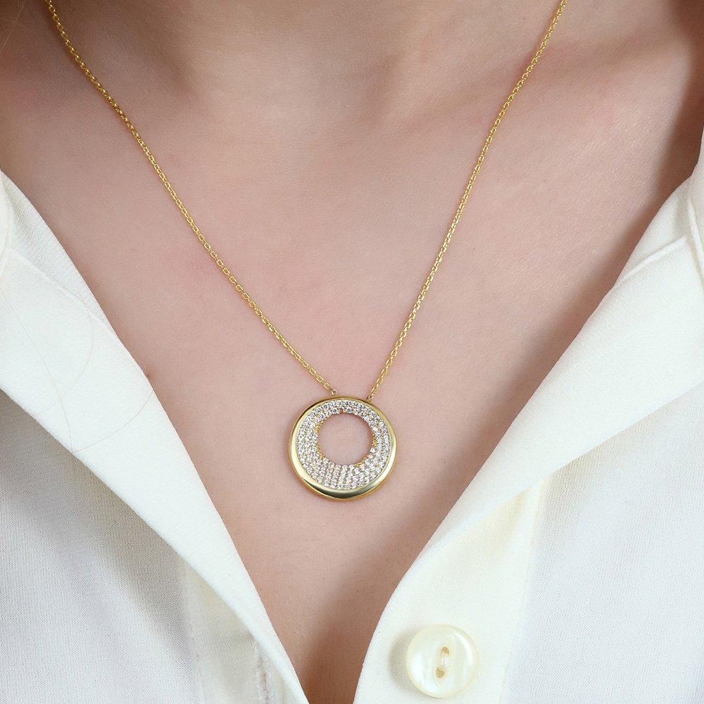 Beyaz Zirkon Taşlı Sevgi Çemberi Tasarım 925 Ayar Gümüş Bayan Kolye