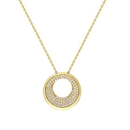 Beyaz Zirkon Taşlı Sevgi Çemberi Tasarım 925 Ayar Gümüş Bayan Kolye - Thumbnail