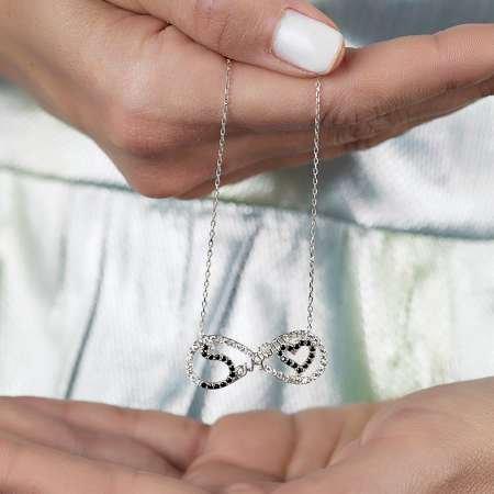 925 Ayar Gümüş Sevgilim Yazılı Sonsuzluk Kolye - Thumbnail
