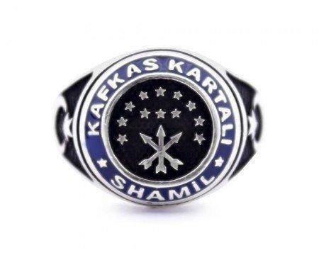 925 Ayar Gümüş Şeyh Şamil Kafkas Kartal Yüzüğü - Thumbnail