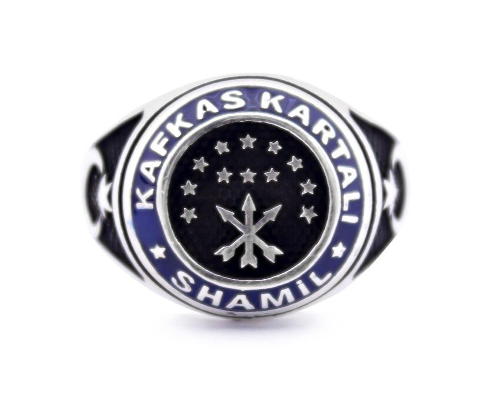 925 Ayar Gümüş Şeyh Şamil Kafkas Kartal Yüzüğü