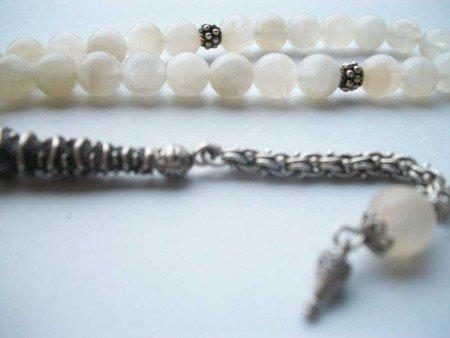 925 Ayar Gümüş Şifalı Aytaşı Doğaltaş Tesbih (JKRWCN12) - Thumbnail