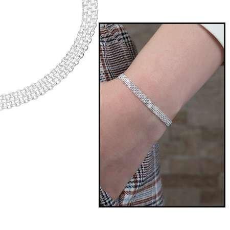 925 Ayar Gümüş Sık Örgülü Bismark Bayan Zincir Bileklik - Thumbnail