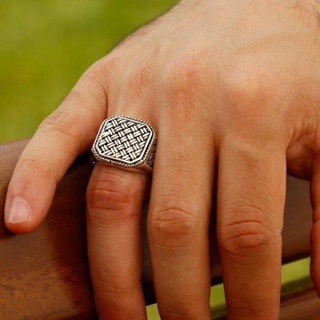 925 Ayar Gümüş Sırma Yüzük - Thumbnail