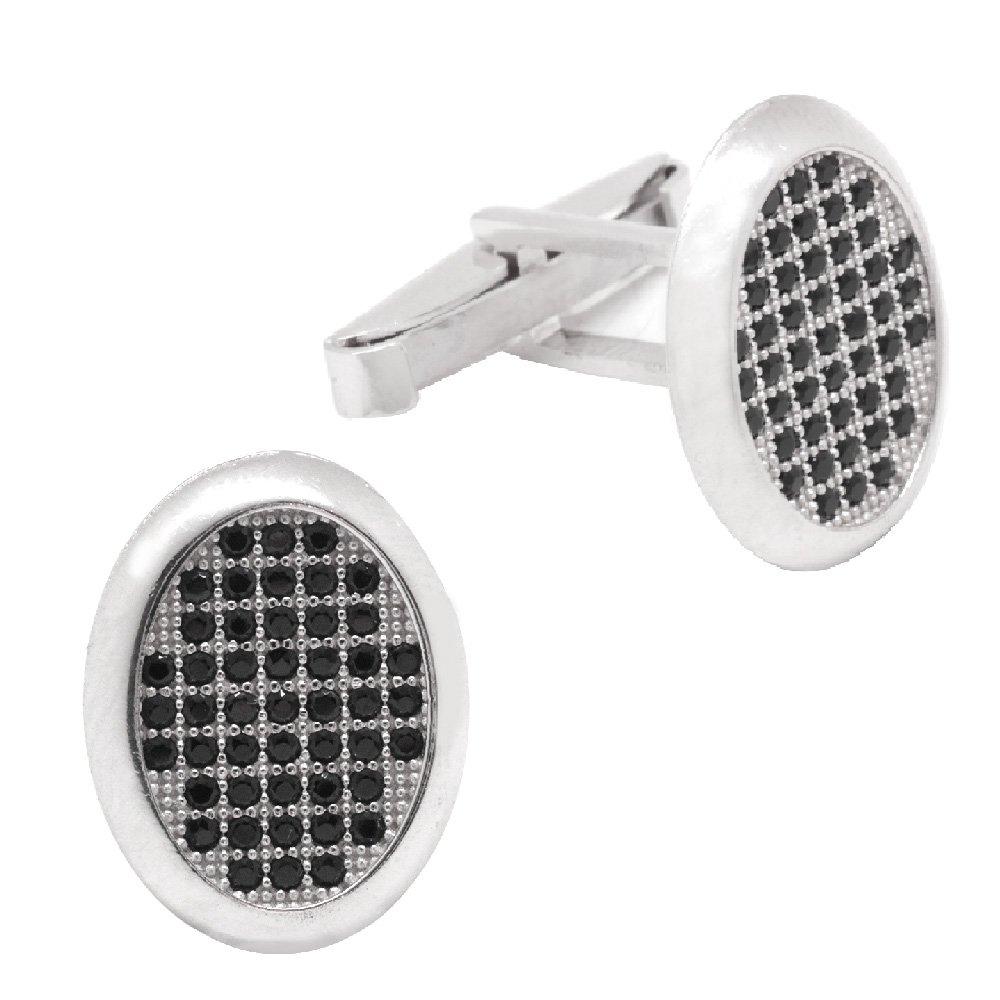 Siyah-Beyaz Zirkon Taşlı Oval Tasarım 925 Ayar Gümüş Kol Düğmesi