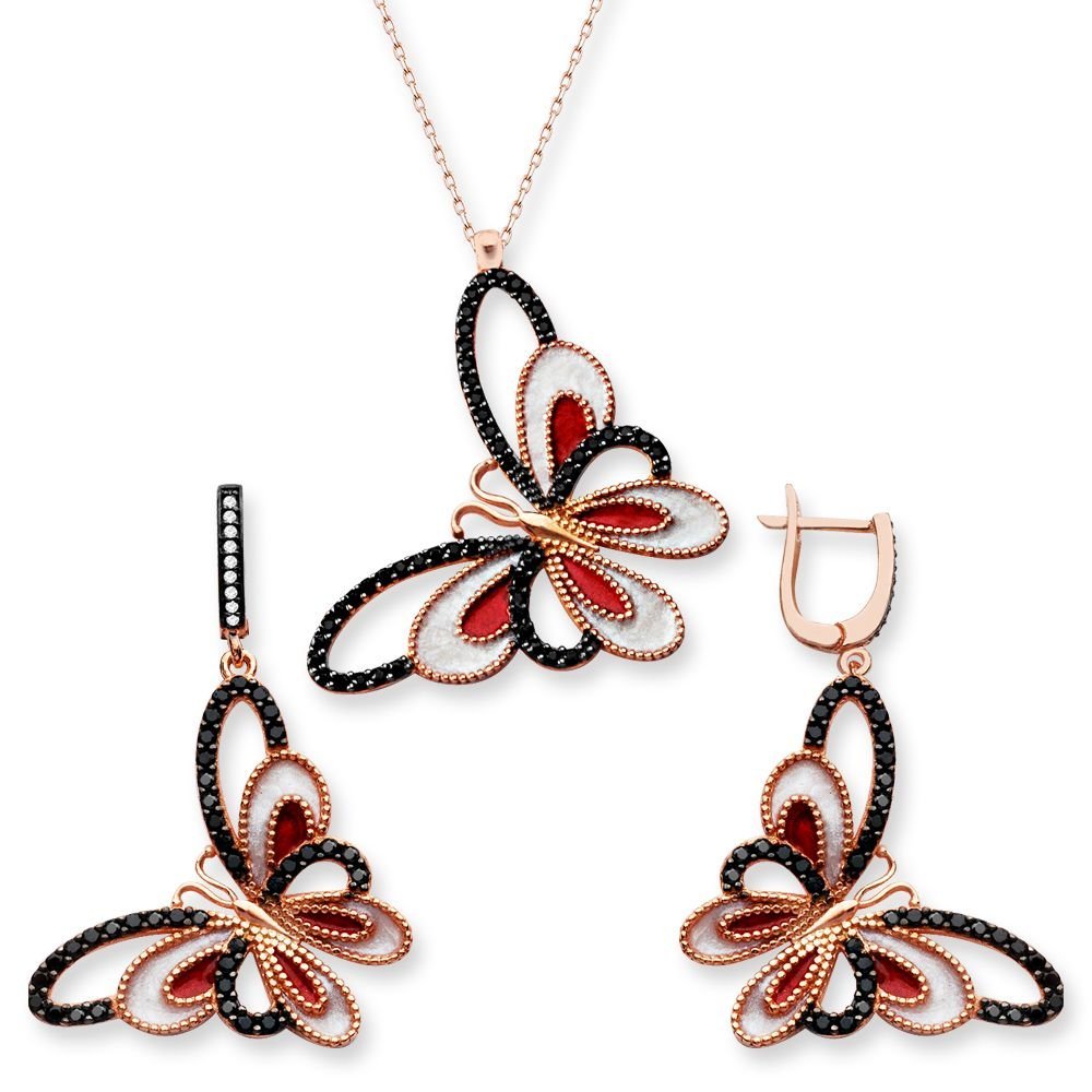 925 Ayar Gümüş Siyah Kırmızı Taşlı Kelebek Set (SRD0267)