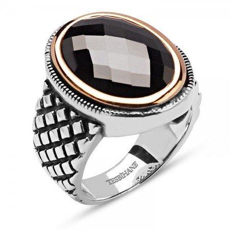 925 Ayar Gümüş Siyah Kristal Zirkon Taşlı Yüzük - Thumbnail