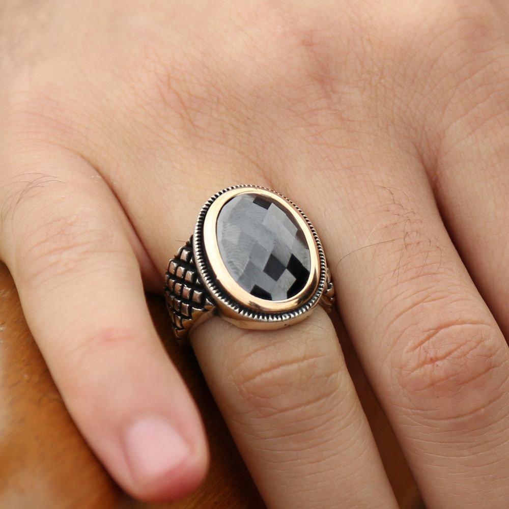 925 Ayar Gümüş Siyah Kristal Zirkon Taşlı Yüzük