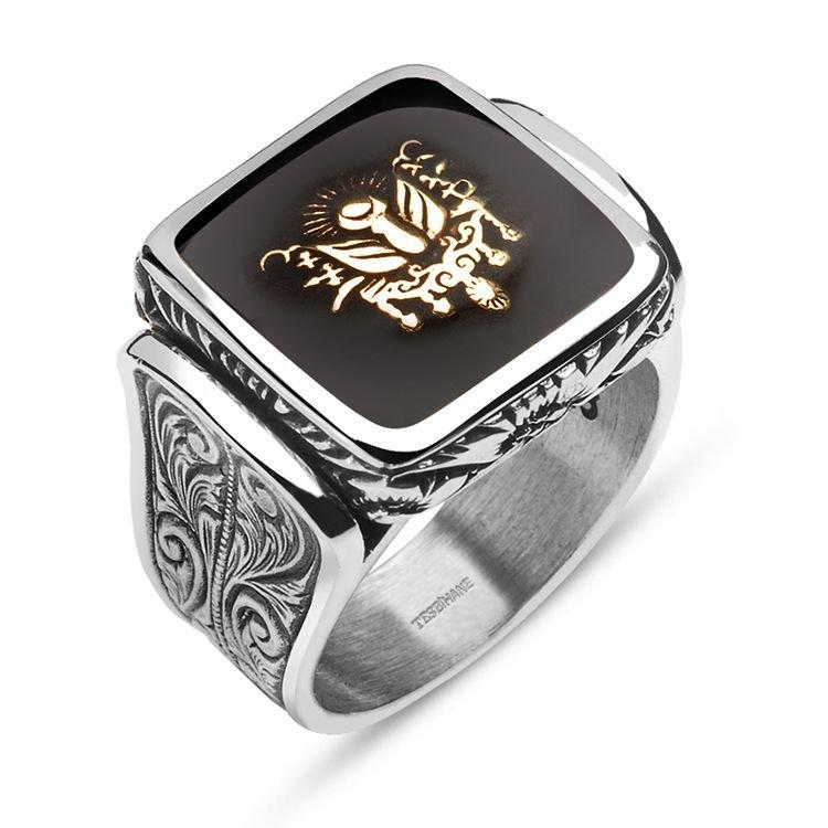 925 Ayar Gümüş Siyah Mine Üzerine Devlet Armalı Yüzük