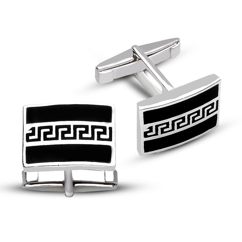 925 Ayar Gümüş Siyah Mine Üzerine Labirent Tasarım Kol Düğmesi