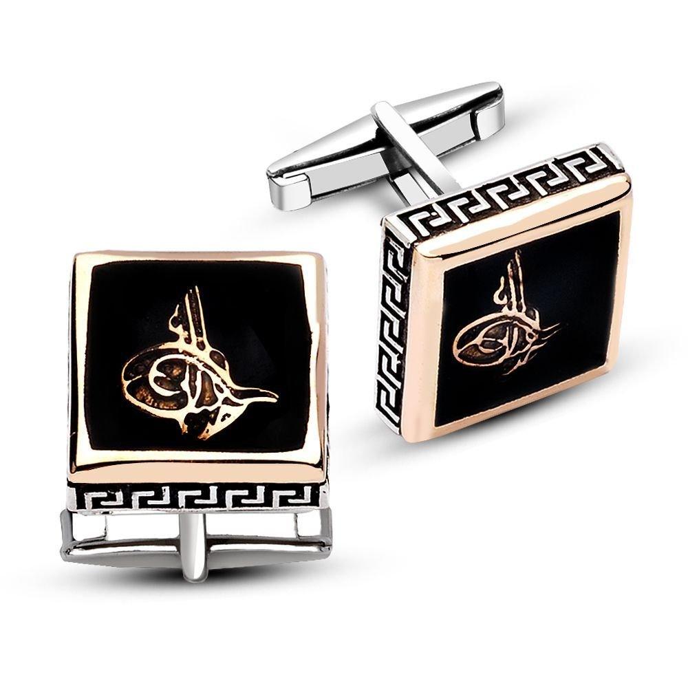 925 Ayar Gümüş Siyah Mine Üzerine Tuğra Model Kare Kol Düğmesi