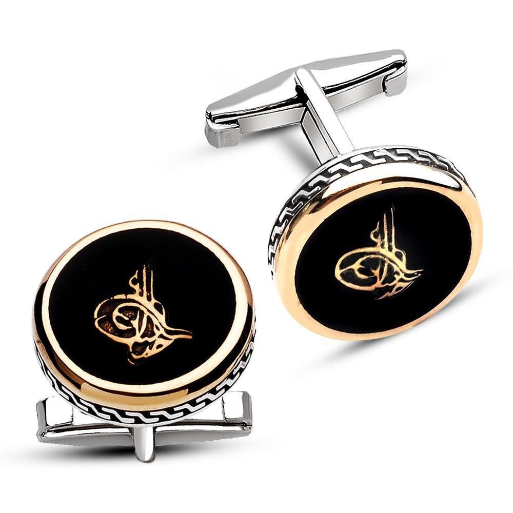 925 Ayar Gümüş Siyah Mine Üzerine Tuğra Model Kol Düğmesi