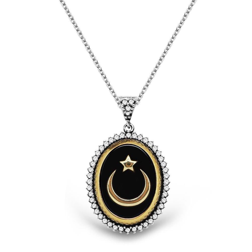 925 Ayar Gümüş Siyah Mineli Ayyıldız Kolye