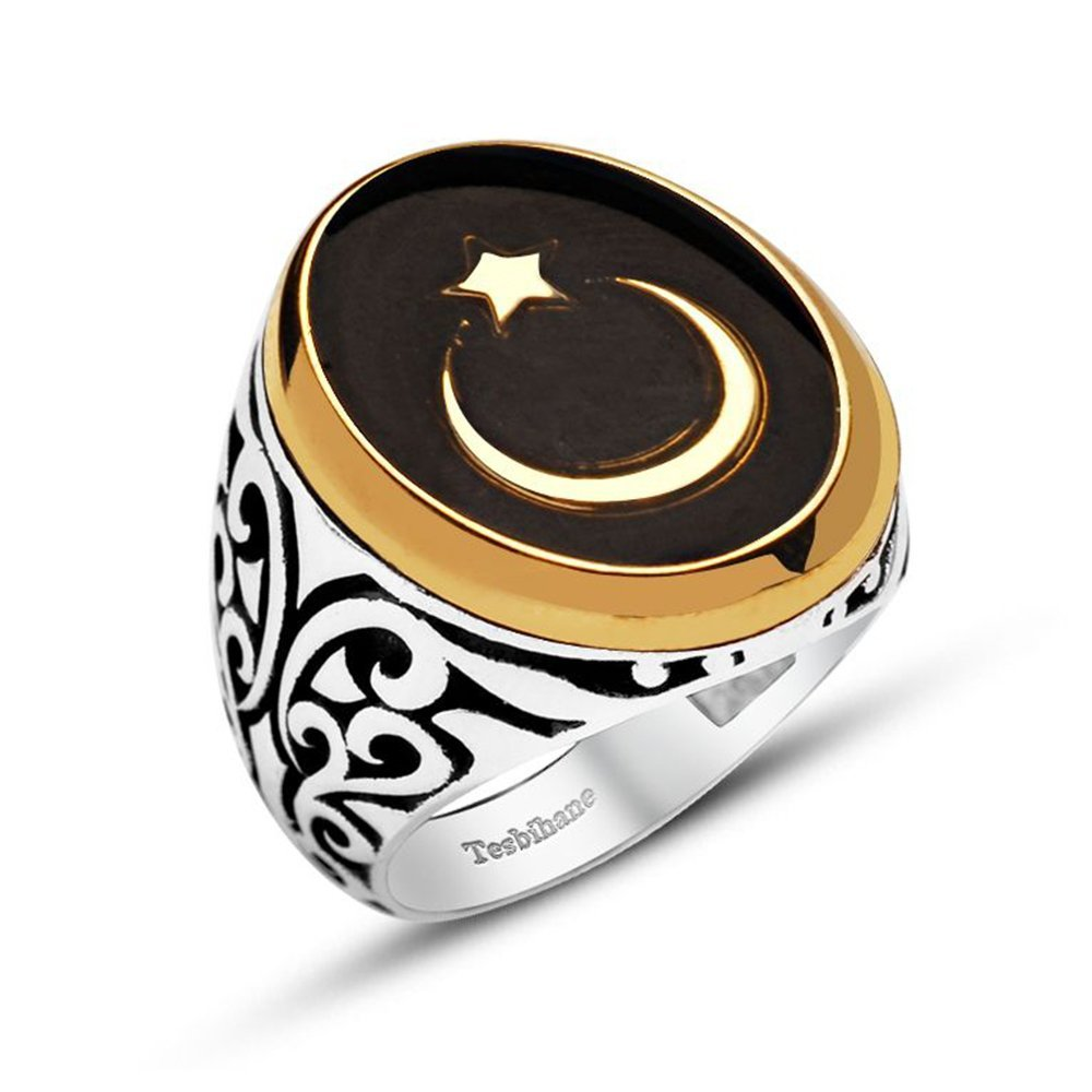 925 Ayar Gümüş Siyah Mineli Ayyıldız Yüzük