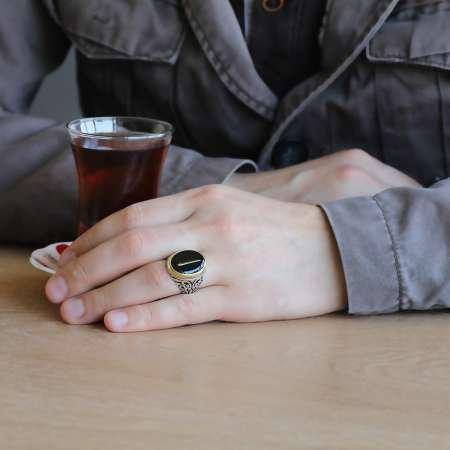 Elif Motifli Siyah Mineli 925 Ayar Gümüş Erkek Yüzük - Thumbnail