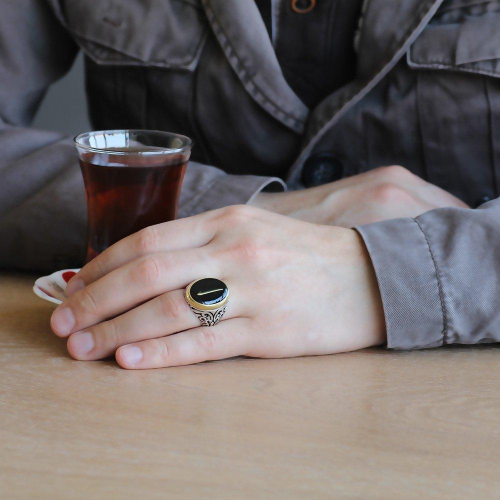 Elif Motifli Siyah Mineli 925 Ayar Gümüş Erkek Yüzük