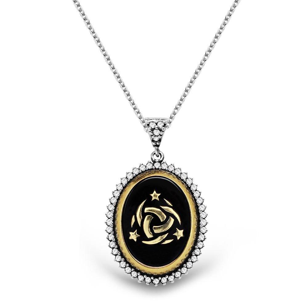 925 Ayar Gümüş Siyah Mineli Teşkilat-ı Mahsusa Logolu Kolye
