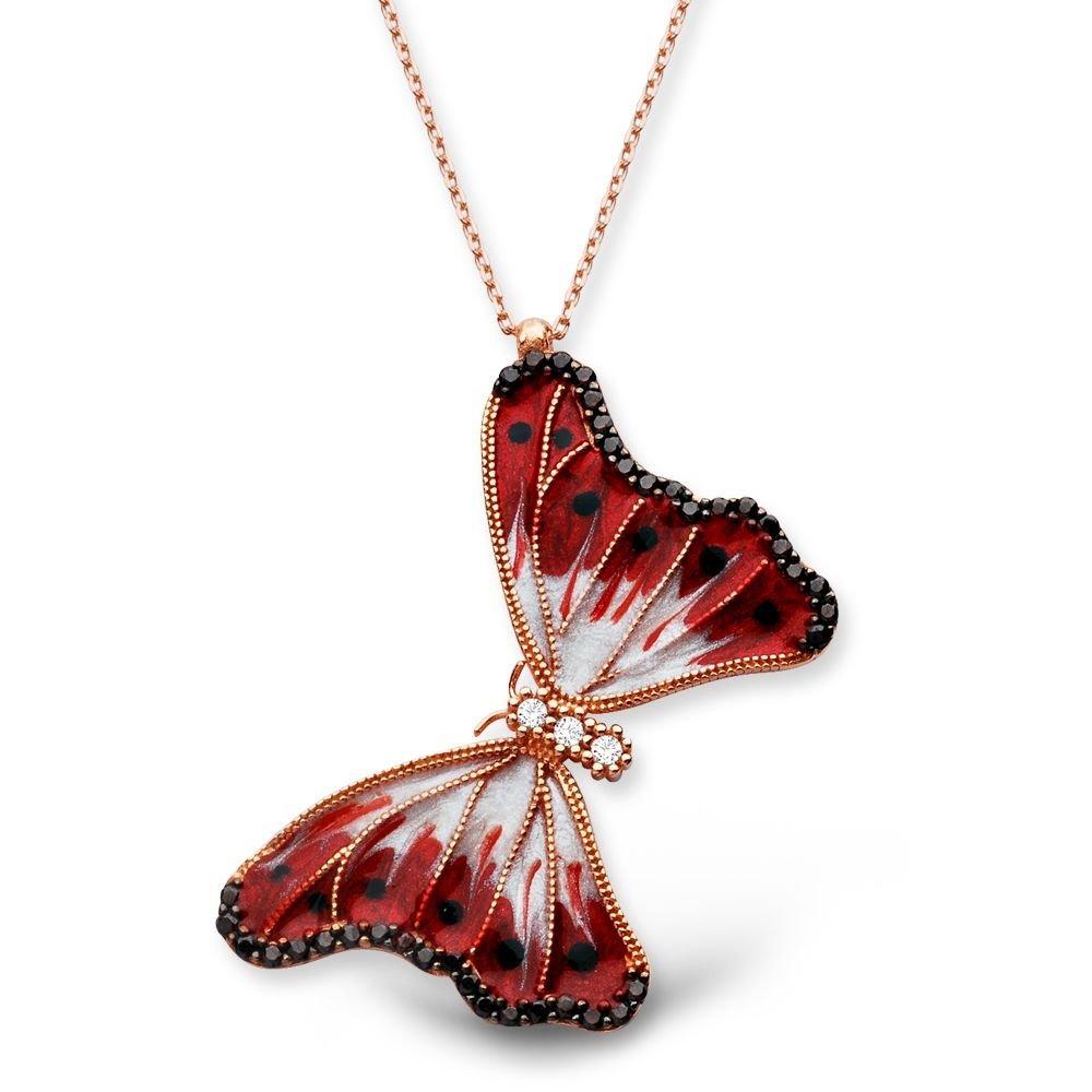 925 Ayar Gümüş Siyah Noktalı Kırmızı Kelebek Kolye