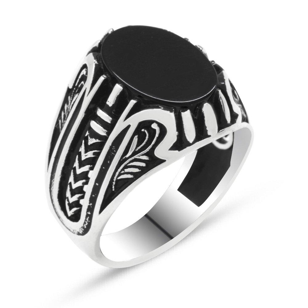 925 Ayar Gümüş Siyah Oniks Taşlı Erkek Yüzük