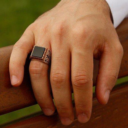 925 Ayar Gümüş Siyah Oniks Taşlı Kare Model Yüzük - Thumbnail