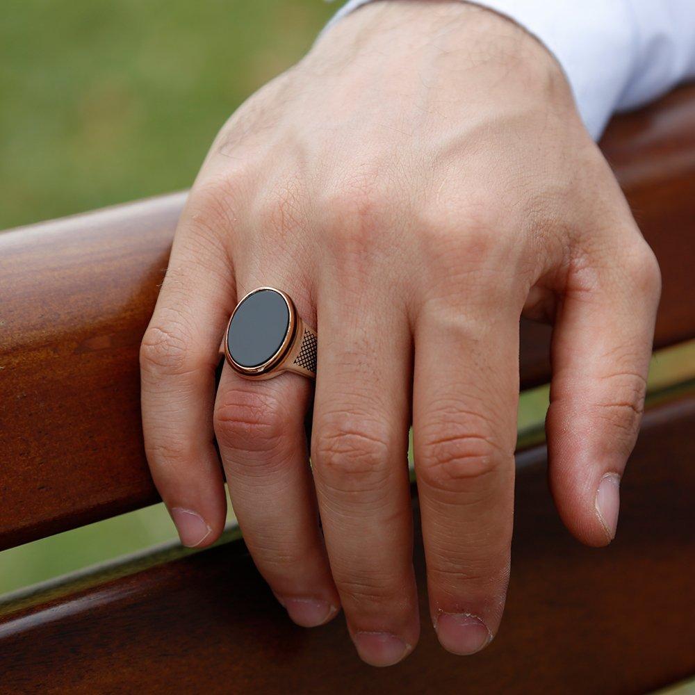 925 Ayar Gümüş Siyah Oniks Taşlı Oval Yüzük
