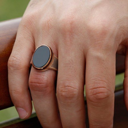 925 Ayar Gümüş Siyah Oniks Taşlı Oval Yüzük - Thumbnail