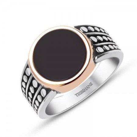 925 Ayar Gümüş Siyah Oniks Taşlı Yüzük - Thumbnail
