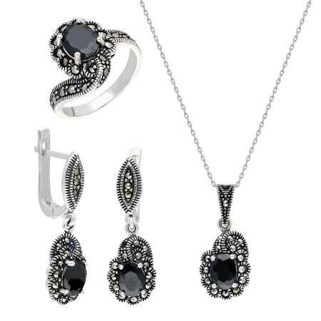 Siyah Zirkon Taşlı 925 Ayar Gümüş 3'lü Takı Seti - Thumbnail