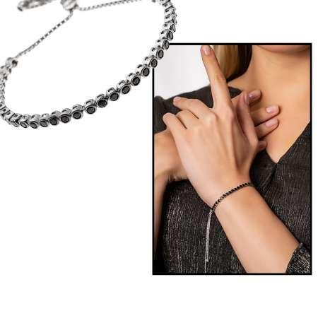 925 Ayar Gümüş Siyah Taşlı Bileklik - Thumbnail