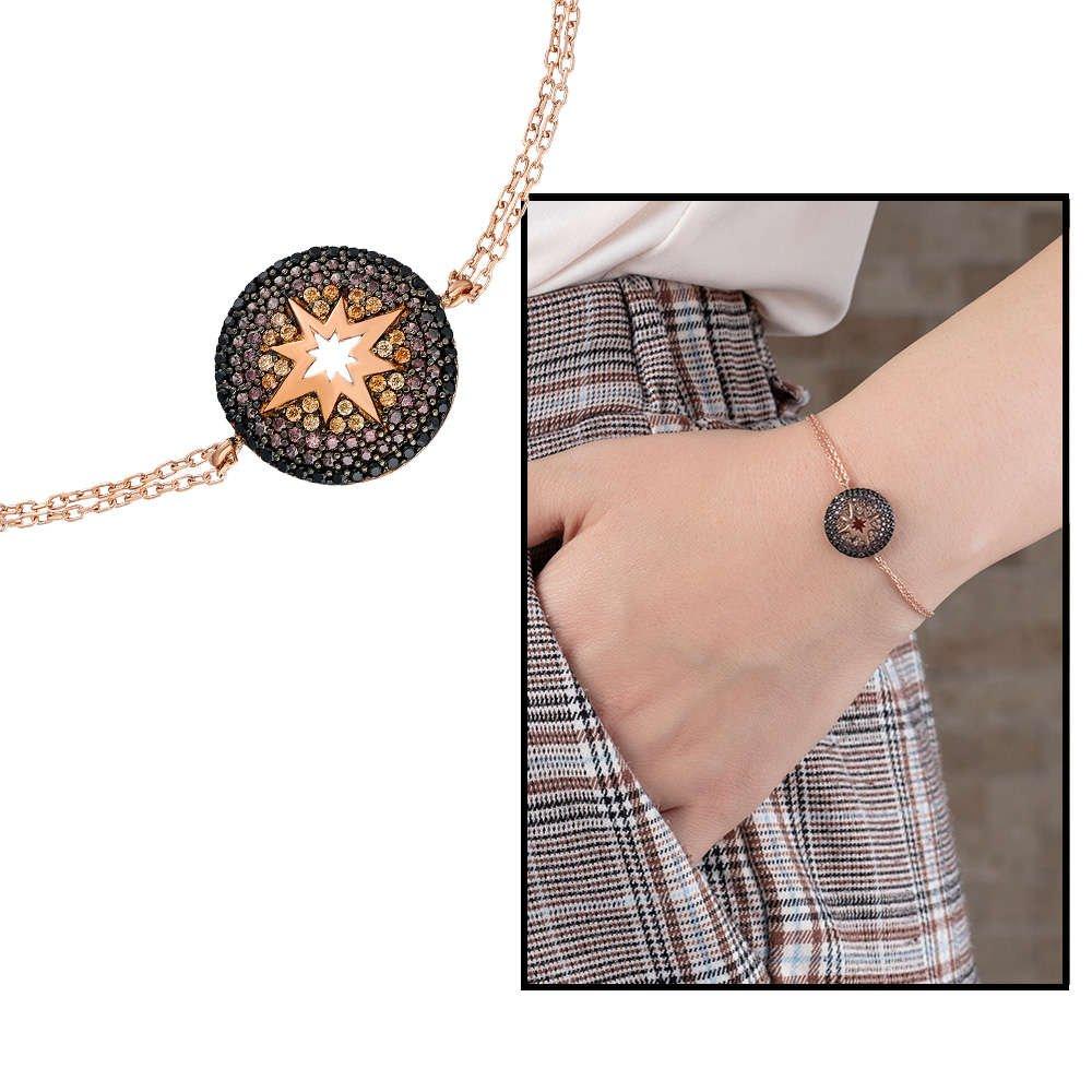 Zirkon Taşlı Yuvarlak Yıldız Tasarım 925 Ayar Gümüş Bayan Bileklik