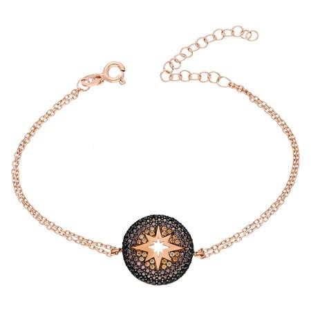 Zirkon Taşlı Yuvarlak Yıldız Tasarım 925 Ayar Gümüş Bayan Bileklik - Thumbnail