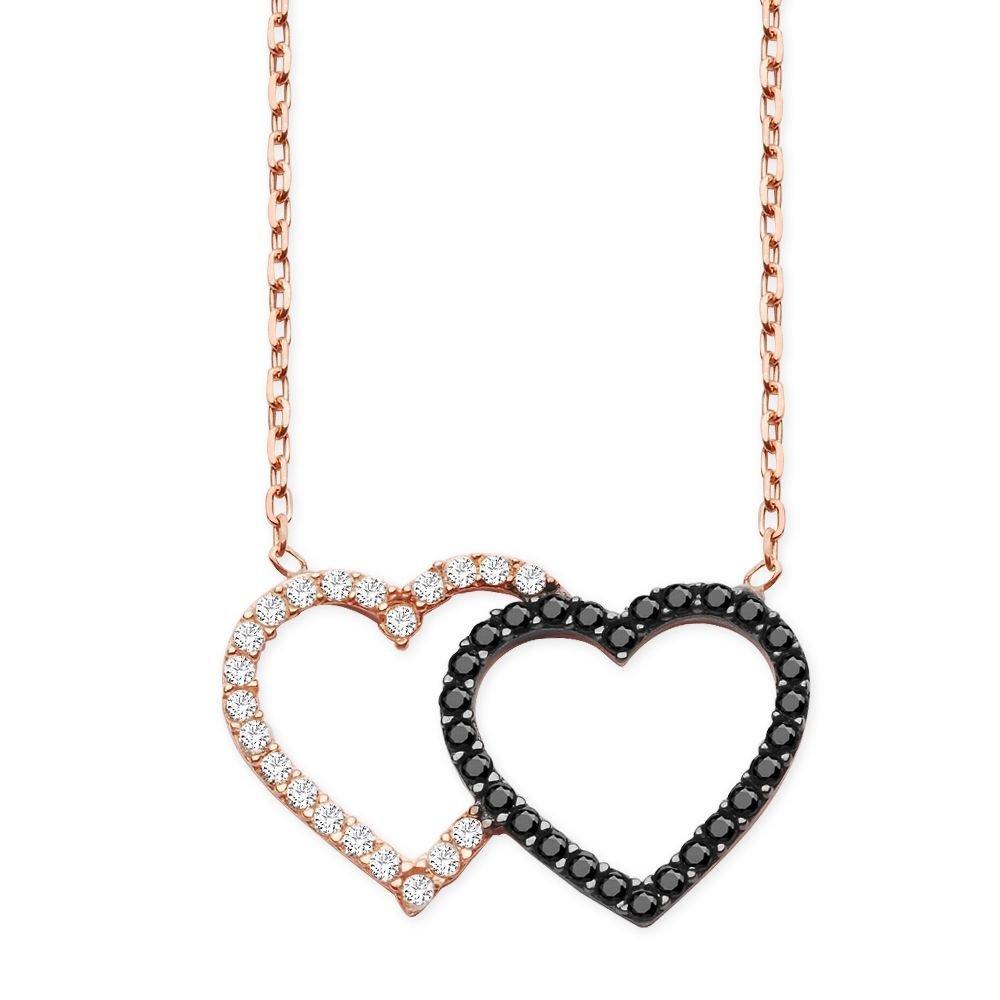 925 Ayar Gümüş Siyah ve Beyaz Zirkon Taşlı Kalpler Kolye