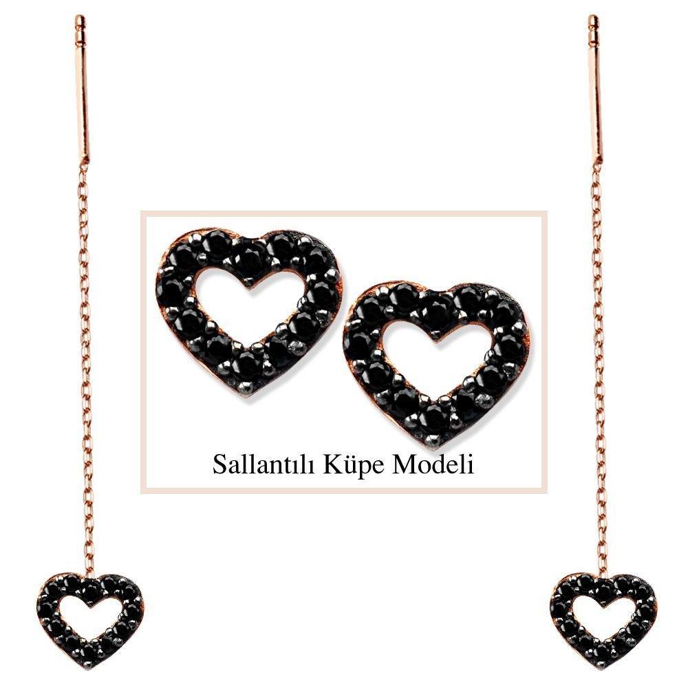 925 Ayar Gümüş Siyah Zirkon Taşlı Açık Kalp Model Japon Sallantılı Küpe (SRD00186)