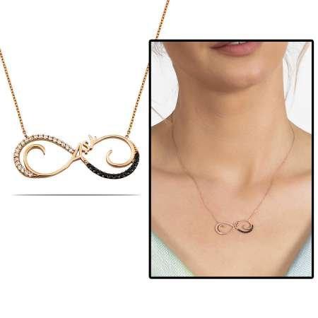 Zirkon Taşlı Rose Renk Aşk Yazılı Sonsuzluk 925 Ayar Gümüş Bayan Kolye - Thumbnail