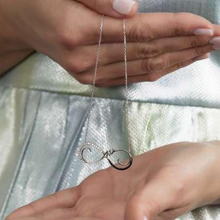 Siyah-Beyaz Zirkon Taşlı Aşk Yazılı Sonsuzluk 925 Ayar Gümüş Bayan Kolye - Thumbnail