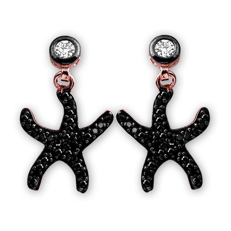 925 Ayar Gümüş Siyah Zirkon Taşlı Deniz Yıldızı Model Küpe